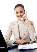 Businesswoman working at office, isolated — Stock Photo