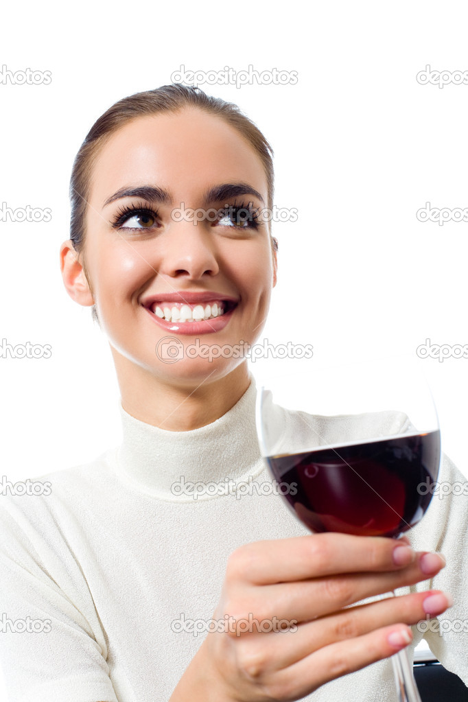 Portrait of happy smiling young attractive woman with glass of red wine, isolated on white background — Zdjęcie stockowe #11703154
