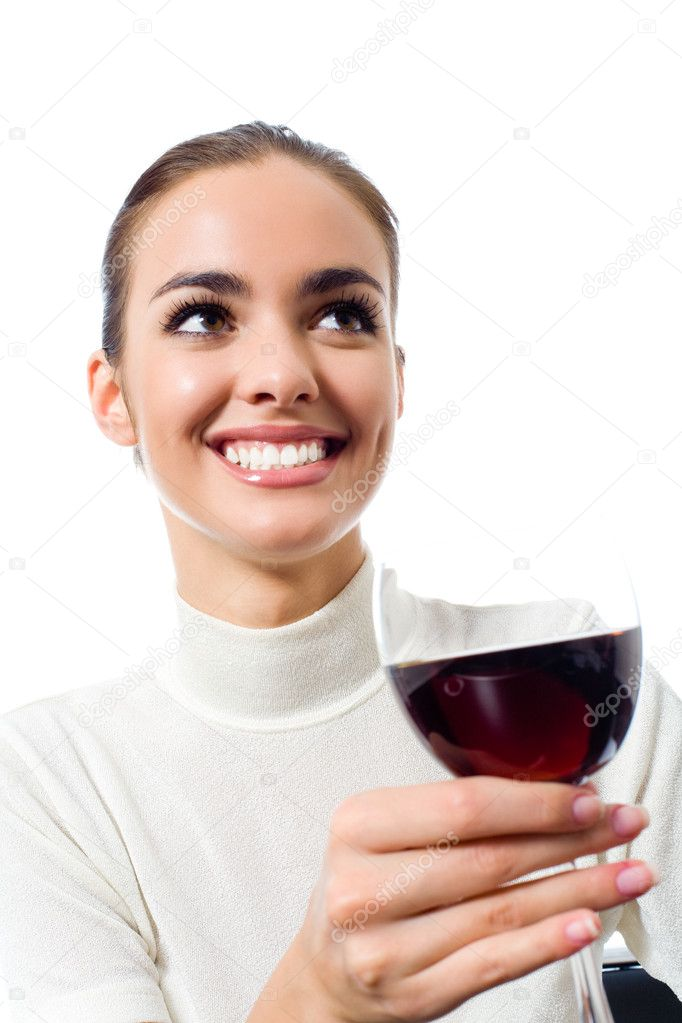 Portrait of happy smiling young attractive woman with glass of red wine, isolated on white background — Foto Stock #11703154