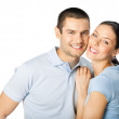 Young happy smiling couple, isolated — Stock Photo #11931050