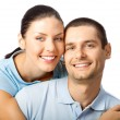 Young happy smiling couple, isolated — Stock Photo #11931063