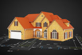 House and plan to build — Stock Photo