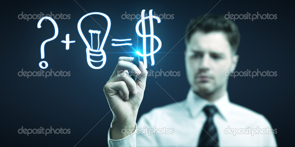 Man drawing formula for making money — Stock Photo #11152534