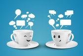 Two mugs communicate — Stock Photo