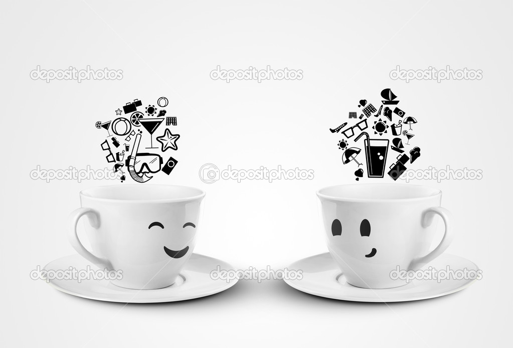 Two happy cups dream travel on a white background — Stock Photo #11642595