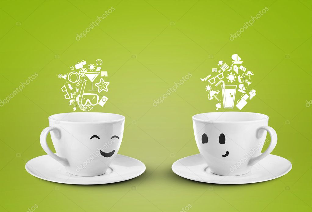 White happy cups dream travel — Stock Photo #11642600