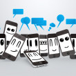 Royalty-Free Stock Photo: Phones smileys with speech bubbles