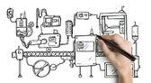 Hand drawning mechanism — Stock Photo