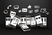 Telefoni con icone social media — Foto Stock