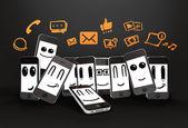Telefoni con simbolo sociale dei media — Foto Stock