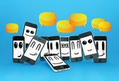 Téléphones smileys avec bulles — Photo