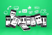Telefoner med sociala medier ikoner — Stockfoto