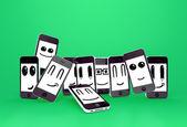 Los teléfonos móviles emoticonos — Foto de Stock