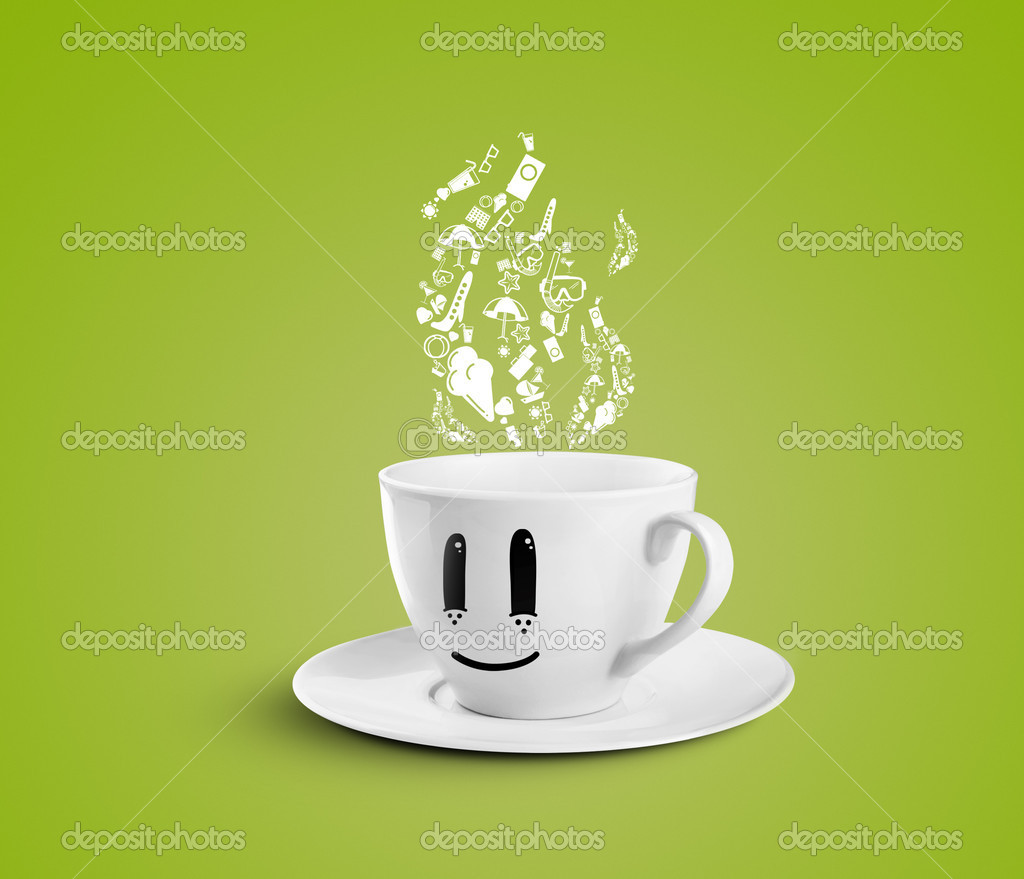 Happy cup dream travel on a green background — Stock Photo #12025235