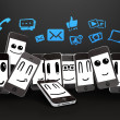 Phones with social media icons — Stock Photo