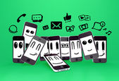 Sosyal medya icons ile telefonları — Stok fotoğraf