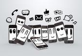 Phones with social media symbol — Stock Photo
