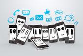 Teléfonos con iconos de redes sociales — Foto de Stock
