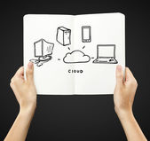 Cloud connection in book — Stock Photo