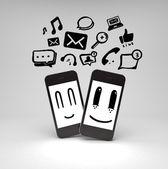 Heureux les téléphones mobiles — Photo