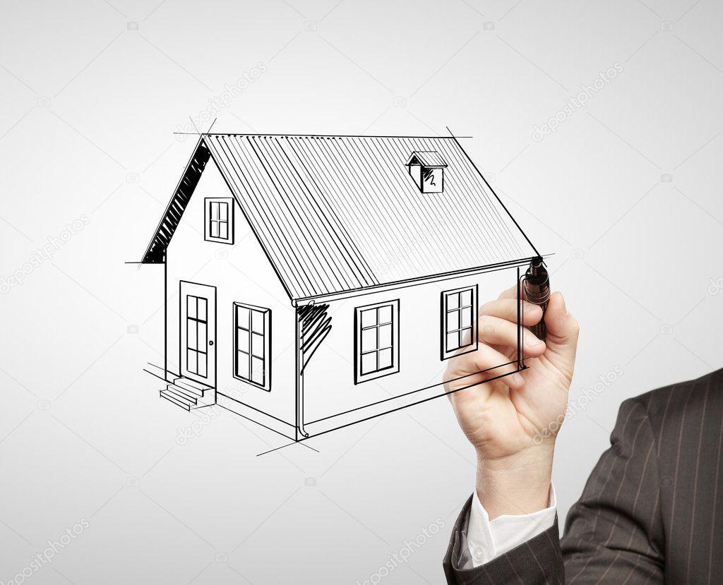 手绘图的房子在白色背景上