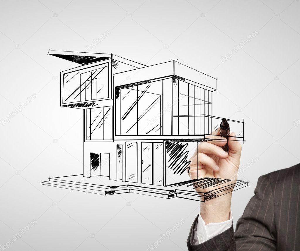 Casa moderna de dibujo foto de stock peshkova 12386437 - Dibujos de casas modernas ...