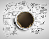 Coffee and business strategy — Stok fotoğraf