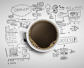 Estrategia de negocios y café — Foto de Stock