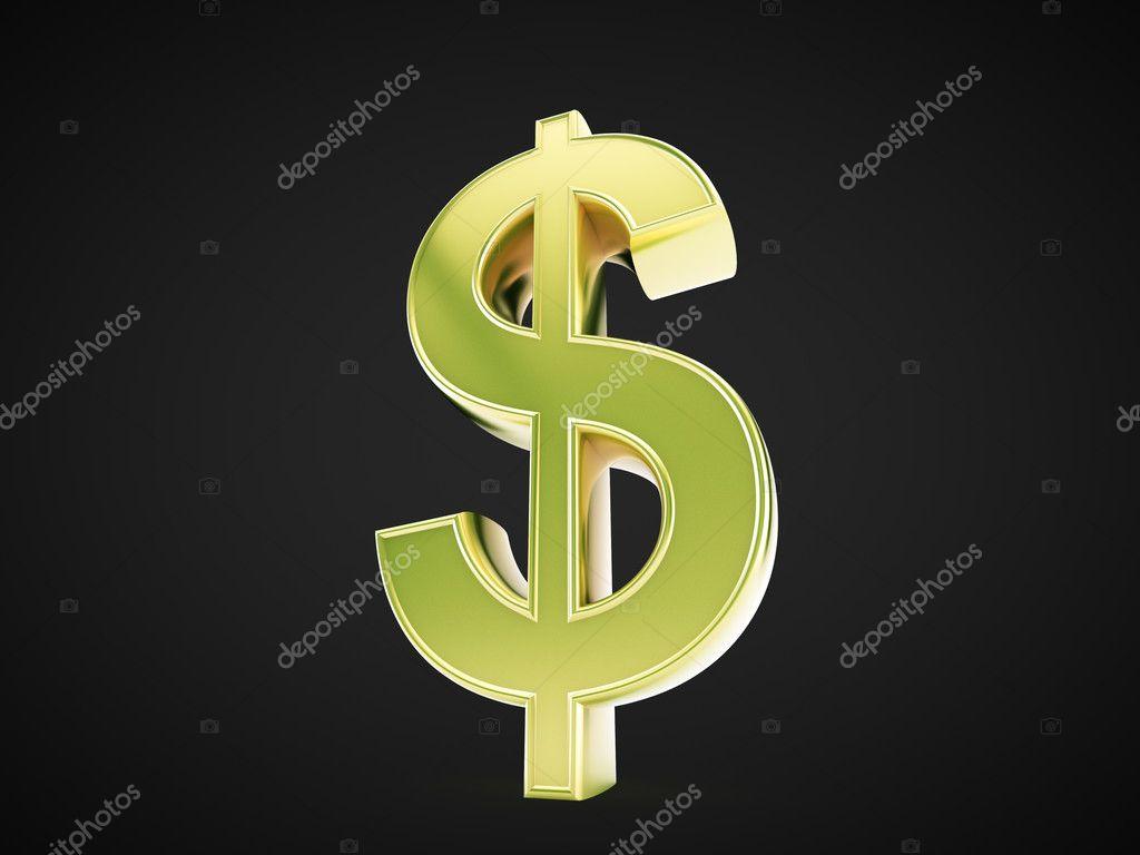 黑色背景上的黄金美元符号.– 图库图片