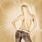 Sexy back of a woman wearing jeans — Stock Photo