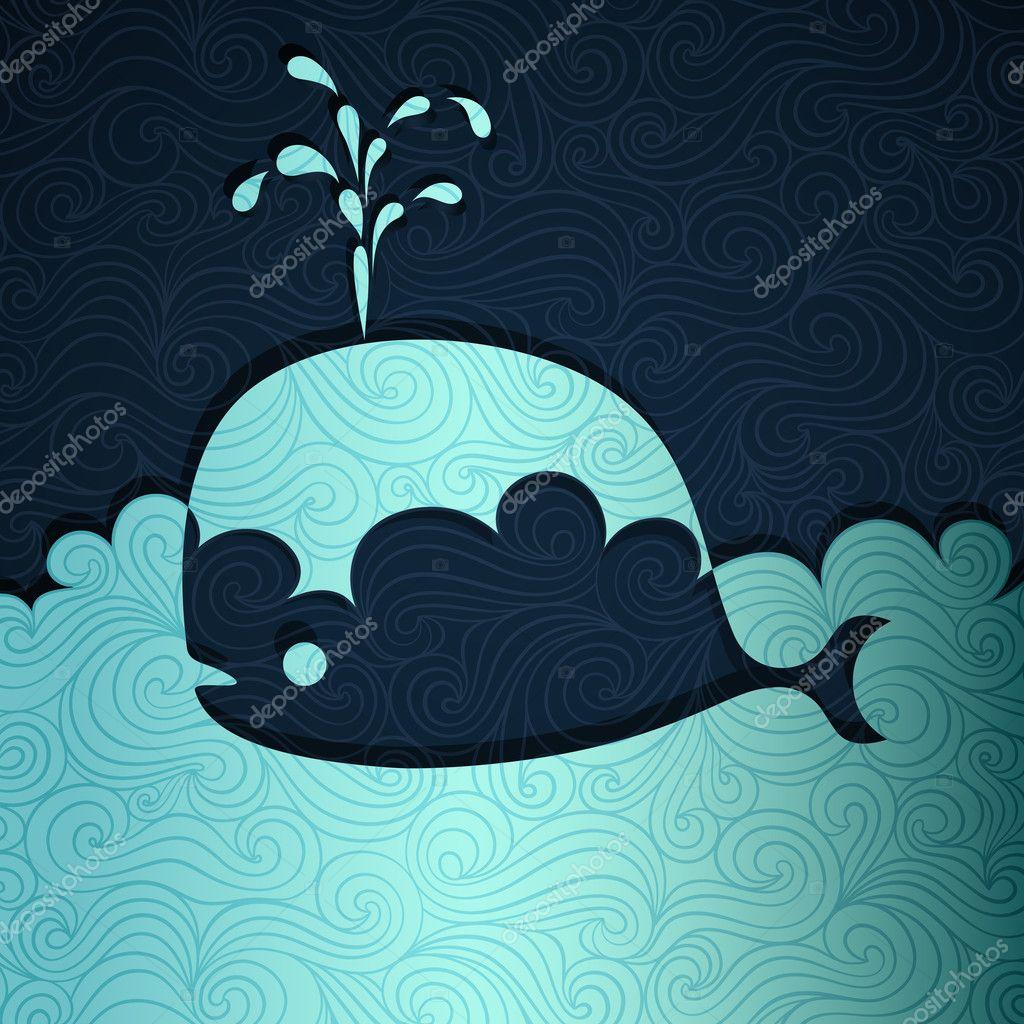 手绘插画 动漫 鲸鱼