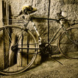 Old bicycle in the garage, vintage vehicles — Stock Photo