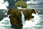 Tree island in the ocean with waterfalls — Stock Photo