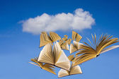 Books flying over blue sky with clouds — Stock Photo