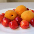 Apricots and cherries — Stock Photo