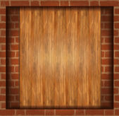 Vector background texture brick wood frame — Stock Vector