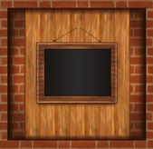 Blackboard frame photo brick wall raster — Stock Vector