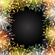 Stock Vector: Fireworks fire color frame blackboard