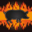 Stock Photo: Raster blackboard grill menu card pig fire board