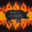 Vector blackboard grill menu card pig fire board — Stock Vector #11221038