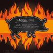 Vector blackboard grill menu card pig fire board — Stock Vector