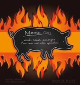 Vector blackboard grill menu card pig fire board — Stock Vector