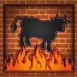 Raster blackboard cow bull fireplace grill — Stock Photo