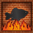 Royalty-Free Stock Photo: Raster blackboard fish fireplace grill
