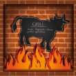 Royalty-Free Stock Vector Image: Vector blackboard cow bull fireplace grill