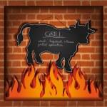 Vector blackboard cow bull fireplace grill — Stock Vector #11451490