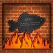 Vector blackboard fish fireplace grill - Stock Vector