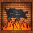 Stock Vector: Vector blackboard pig fireplace grill