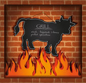 Vector blackboard cow bull fireplace grill — Stock Vector