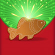 Christmas congratulations fish carp gingerbread — Stock Vector #11490091